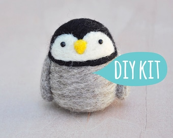 Needle felting kit beginner, Needle felting starter kit penguin, DIY craft kit for adult, penguin craft kit, gift for crafter