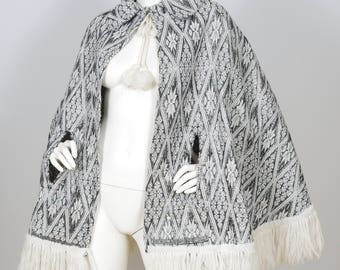1970s Vintage Metallic Silver Fringed Poncho Cape