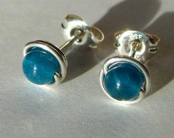Blue Apatite Studs 5mm Apatite Earrings Sterling Apatite Blue Apatite Post Earrings Wire Wrapped in Sterling Silver Earrings Stud Earrings
