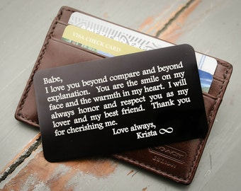 Personalized Wallet Card, Metal Wallet Insert, Custom Wallet Insert: Valentine's Day, Anniversary Gift for him, Military Deployment Gift