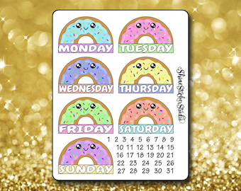 Kawaii Donut Date Cover Stickers - Planner Stickers Erin Condren Life ECLP Stickers Happy Planner Kawaii Donut Stickers