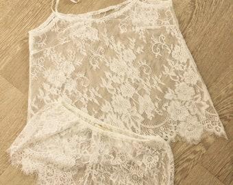 Shorts und Top - Elfenbein-Spitze - Braut Dessous, Flitterwochen - Stil-418