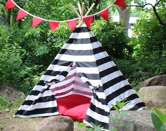 Play Teepee Tent, Kids Teepees, Two Sizes, Can Include Window, Play Room Teepee, Nautical Teepee, Playhouse, Tee Pee, Childrens Teepee