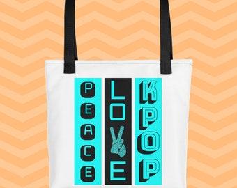 K-Pop Tote Bag, Korean Tote Bag, Peace, Love, K-Pop Tote bag