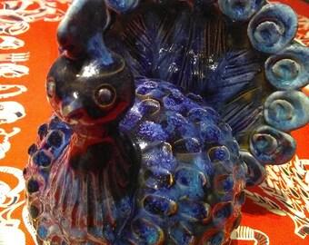 Ceramic bird. Blue ceramic bird. Christian Thorup. Mid-century pottery. Modernist Bird. Modernist ceramic. Midcentury Swedish ceramic.