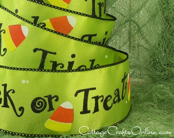 "Halloween Wired Ribbon, 2 1/2"", Trick or Treat Script, Lime Green Satin - FIVE & 1/8 YARDS -  Candy Corn #710016 Craft Wire Edged Ribbon"