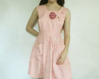 50s Pink Candy Striper Dress with Pins XS