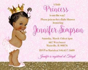 Princess baby shower invitations etsy princess baby shower invitation pink gold glitter sparkle printable or printed filmwisefo Gallery