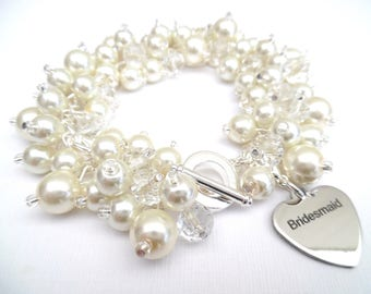 Pearl Bridesmaid Charm Bracelet, Custom Colours, Cluster Bracelet with Bridesmaid Charm, Pearl Bracelet, Ivory Pearl Jewelry, Keepsake Gift
