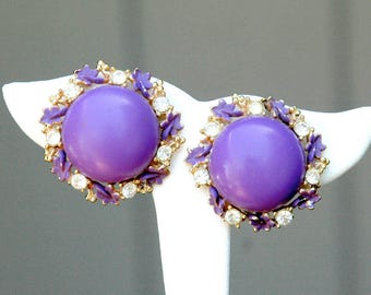 Rhinestone and Enamel Earrings 1950's Purple Plastic Vintage