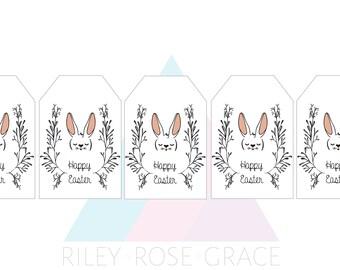 easter bunny printable bag tag // easter treats tag // easter party favour tag // bunny wreath tag //  easter tag