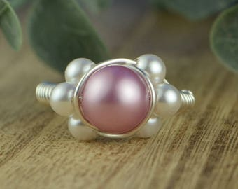 Pink Pearl Wrapped Ring- Sterling Silver, Yellow or Rose Gold Filled Wire/Pink and Tiny White Crystal Pearls-Size 4 5 6 7 8 9 10 11 12 13 14