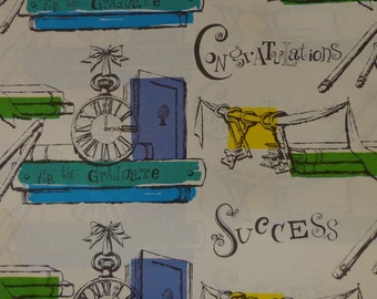 Vintage 1962 Graduation Gift Wrap --2 Sheet Wrapping Paper- Sucess for the Graduate