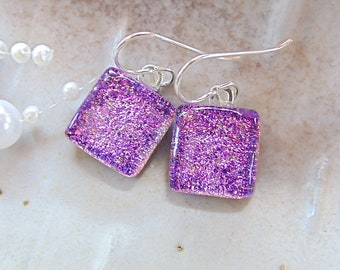 Pink Earrings, Dichroic Glass Earrings, Fused Glass Jewelry, Sterling Silver, Dangle, Petite, A9