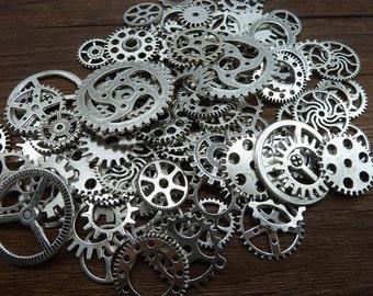 BULK 100 Mixed Steampunk Gear Charm Antique Silver Clockwork Cog Wheel Gearwheel Mechanical Watch Gear Clock Parts Decoration