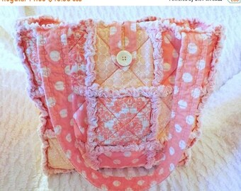 On Sale Rag Quilt Tote - Pink Damask and Polka Dot  - Dusty Pink - Melon Pink - Summer Tote - Gift for Her