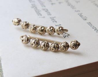 Yellow Gold Plated Dainty Rose Ear Climbers Earrings Sterling Silver Flower Ear Sweep Earrings Ear Crawlers or Drop Earrings for Girlfriend