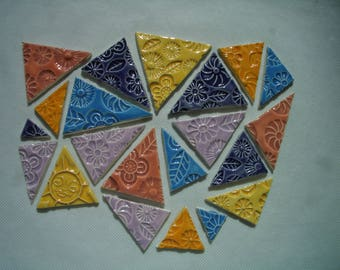 21FTR - 21 pc Colorful FLOWER Stamped TRIANGLES - Ceramic Mosaic Tiles Set