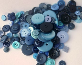Shades Of Blue Button Lot(A) / 140 Assorted Sizes Shapes / Plastic Sew-Threw Shanked Fabric / Craft Supply / Vintage Sewing
