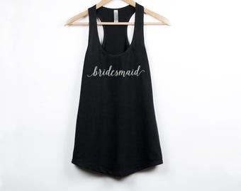 Bridesmaid Tank Top, Bridesmaid Shirt, Bridesmaid Gift, Silver Glitter, Gift for Bridesmaid