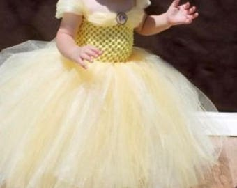 Belle girl dress yellow tulle