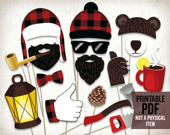 Lumberjack photo booth props : printable PDF. Lumberjack party printables. Lumberjack photo props. Party supplies. Birthday party props.
