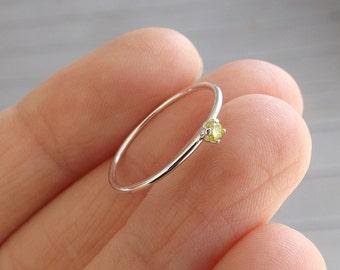 Yellow Diamond Ring, Genuine Diamond Ring, Yellow Diamond, Slim Ring, Minimalist Ring, Gift, Gemstone Ring, Tiny Diamond Ring, Diamond Ring