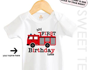 My First Birthday Shirt Firetruck Truck Personalized Age Shirt