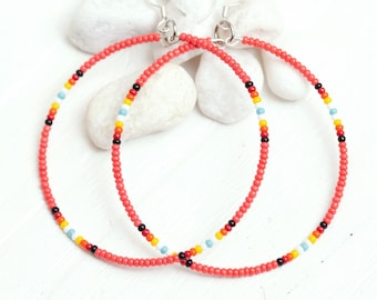 coral seed bead hoop earrings