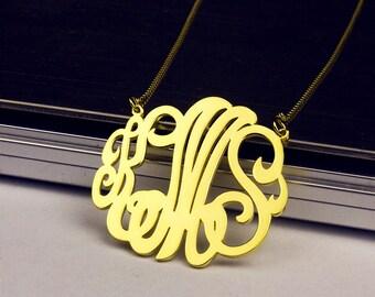 Initial Pendant, Monogram Necklace, Initial Necklace, Personalized Necklace, Monogram Initial Necklace, Custom Necklace, Gold Monogram
