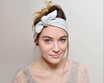 Tie Headband, Ivory headband, Shabby Chic Hair Accessories, Women Vintage style, Boho Wide Headband, tie head band, hair covering, hair ties