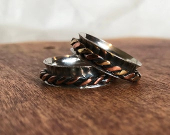 Silver Fidget Ring Copper Anxiety Ring Meditation Ring Sterling Silver Fidget Ring Sterling Silver Worry Ring