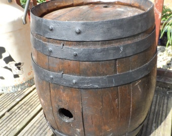 Gorgeous French Wooden Barrel Strong and Sturdy a traditional metal banded coopered barrel. A superb garden or house ornament.