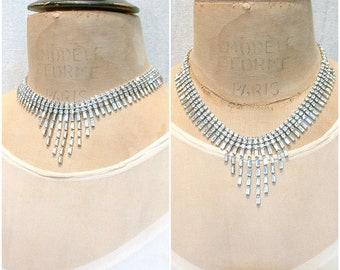 PRISTINE Designer WEISS Vintage Art Deco Rhinestone Necklace,Clear Crystal Silver Bridal Statement Choker,1940 Gatsby Wedding Hollywood Glam