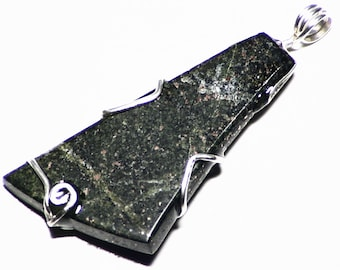 Raw Copper Pendant, Copper Ore Jewelry, Shiny Native Copper in Epidote Necklace in Sterling Silver, Rough Copper Gift, Mens Copper Necklace