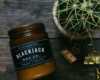 No. 09 SPANISH MOSS Blackjack Wax Co. Handmade Soy Wax Candle 1/2 lb. Amber Jar Candle,  Oak Moss  AmberCandle, Scented Candle, Hand Poured