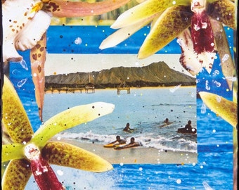 GLASSED, BLUE HAWAIIAN, 4x4 and Up, re-collaged, hand-painted and hand-glassed on wood panel, Hawaii, resin art, tropical, custom made