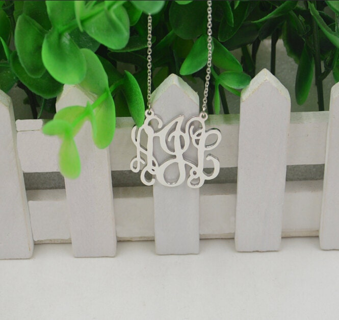 Monogram necklace,Sterling silver monogrammed gift,you can custom any initials,handmade jewelry for women