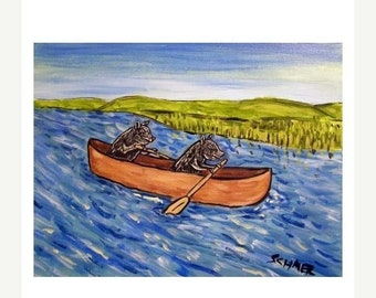25% off Pigs in a Canoe Animal  Art Print