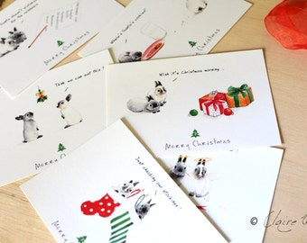 Set of 6 T&T Bunnies Christmas Cards