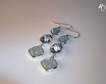 Silver Earrings Aquamarine, prasiolite, moonstone