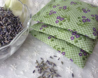Lavender Dryer Sachet Set of 3 - Organic French Lavender, Clothes Dryer Sachets, Eco Friendly Green Living Dryer Sheet Alternative