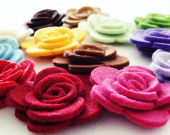 Thick Felt Roses, Felt Roses, Felt Flowers, Pastel Colors For Spring, Easter Themes, Felt Flower, 10 Pieces, Felt Die Cut Flowers