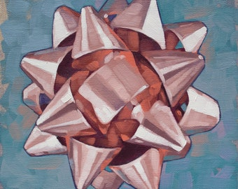 """Oil Painting Still Life of Gift Bow, Original Fine Art Painting, Gift for Art Lover, Collectable Painting - """"Rose Gold Bow Mandala"""""""