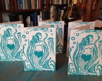 5 Hand Carved Mermaid Block Print Spirit of Love Greeting Cards - White on Blue