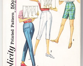 Vintage 1963 Simplicity 4886 UNCUT Sewing Pattern Misses' Pants in Three Lengths in Proportioned Sizes Size 28