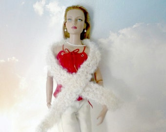 SALE 50 off/  Doll Wrap Knitted extra long scarf  mohair for 16 inch /Tonner Tyler Wentworth Sydney Gene Ellowyne  BJD  clothes