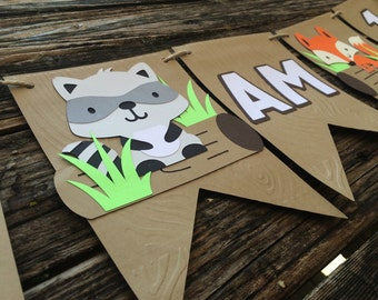 I Am One Woodland Party Banner - High Chair Banner, Woodland Banner, Baby Shower, Birthday Party, Fox Party, First Birthday, Photo Prop