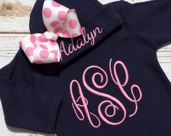 Baby Girl Coming Home Outfit / Monogrammed Baby Clothes / Going Home Outfit for Baby Girl / Newborn Sleeper Gown / Baby Gown / Newborn Gown