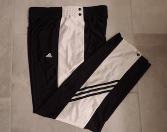 90's ADIDAS Break Away Track Pants Tear Away Pants Adidas Track Pants Metal Snap Oversized Women's  Men's Lg.